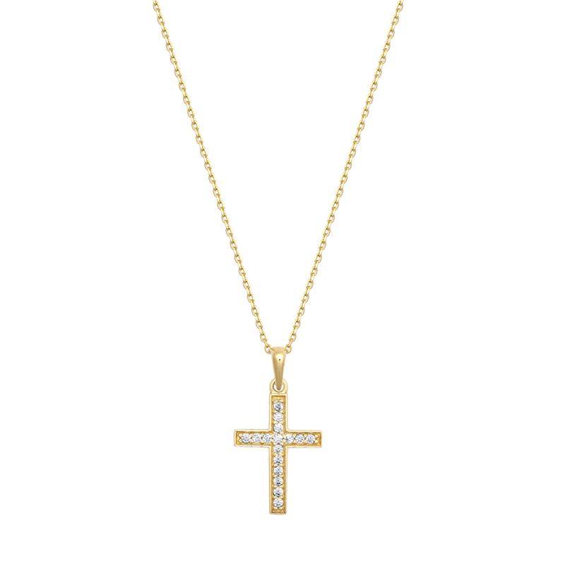 9ct YG Cz Cross Pendant With Chain