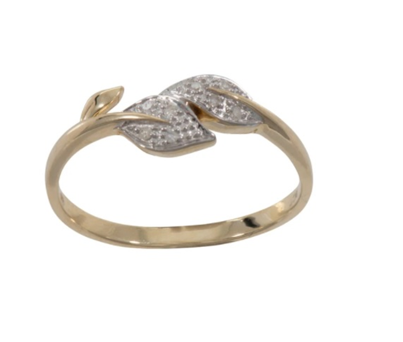 9ct YG Diamond Leaf Ring