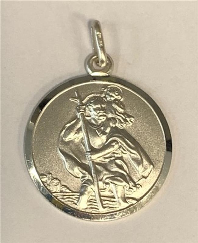 Silver St. Christopher Medallion Pendant