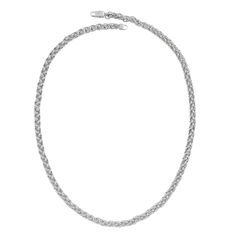Silver Rhodium Plated CZ Spiga Chain 30
