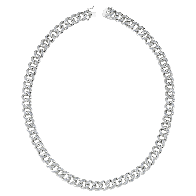 Silver Rhodium Plated Heavy Curb CZ Gents Chain 24