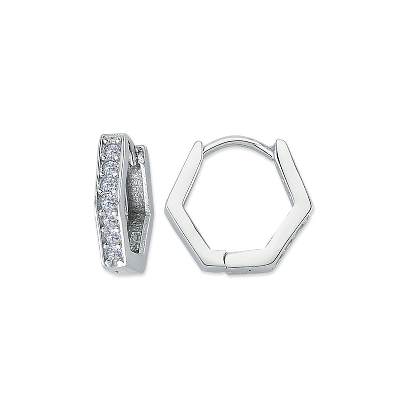 Silver Rhodium Plated CZ Hexagon Huggies