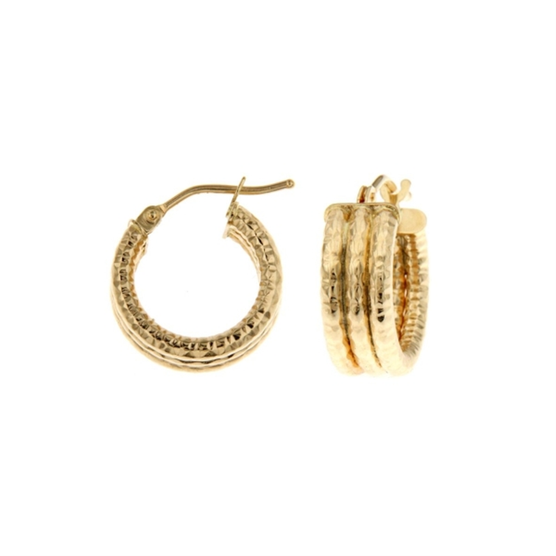 9ct Yellow Gold 10mm Three Row Ribbed Hoop Earrings
