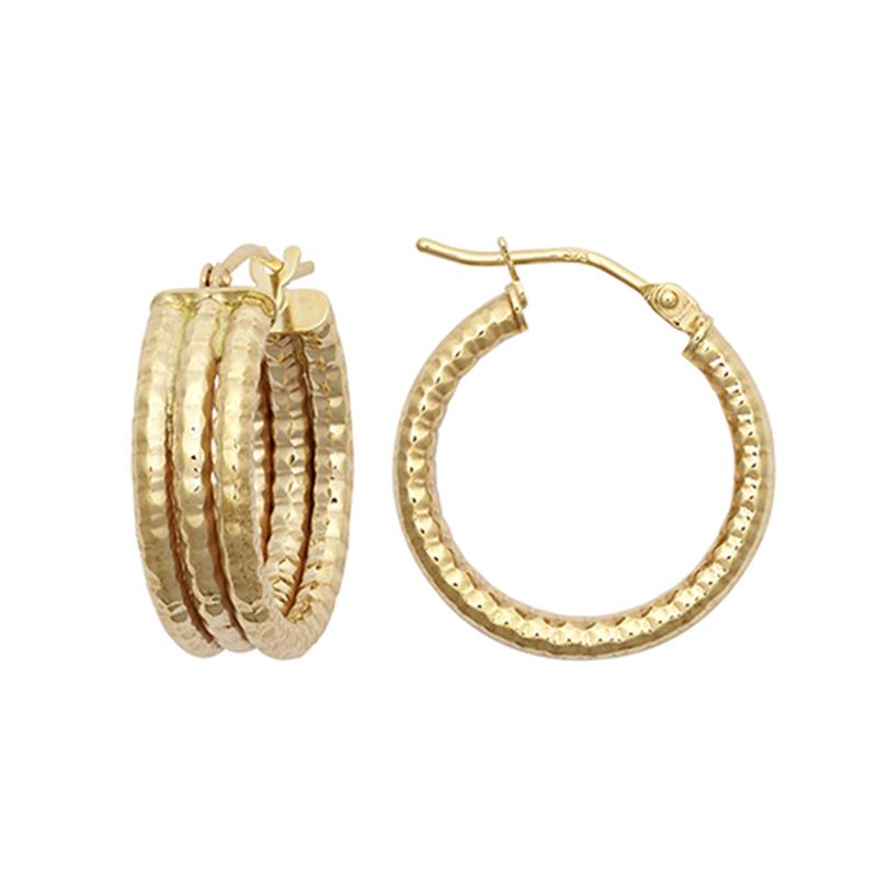 9ct Yellow Gold 15mm Three Row Ribbed Hoop Earrings