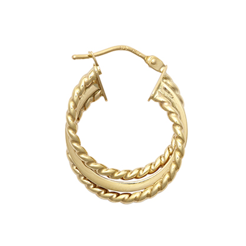 9ct YG 15mm Three Layer Ribbed Twist Hoop Earrings