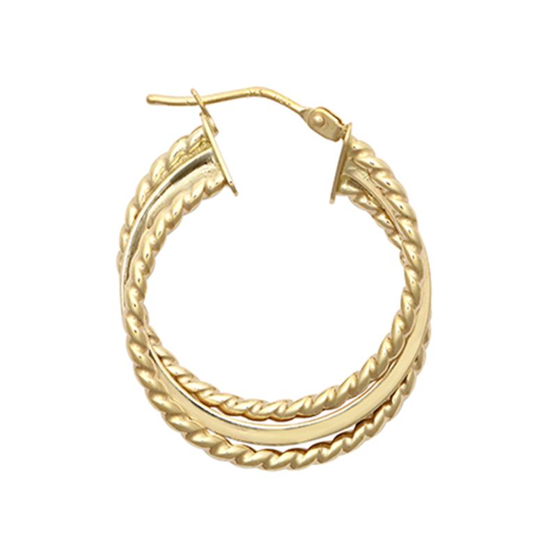 9ct YG 20mm Three Layer Ribbed Twist Hoop Earrings