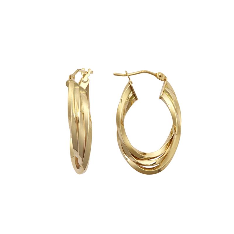 9ct YG Three Layer Polished Oval Hoop Earrings