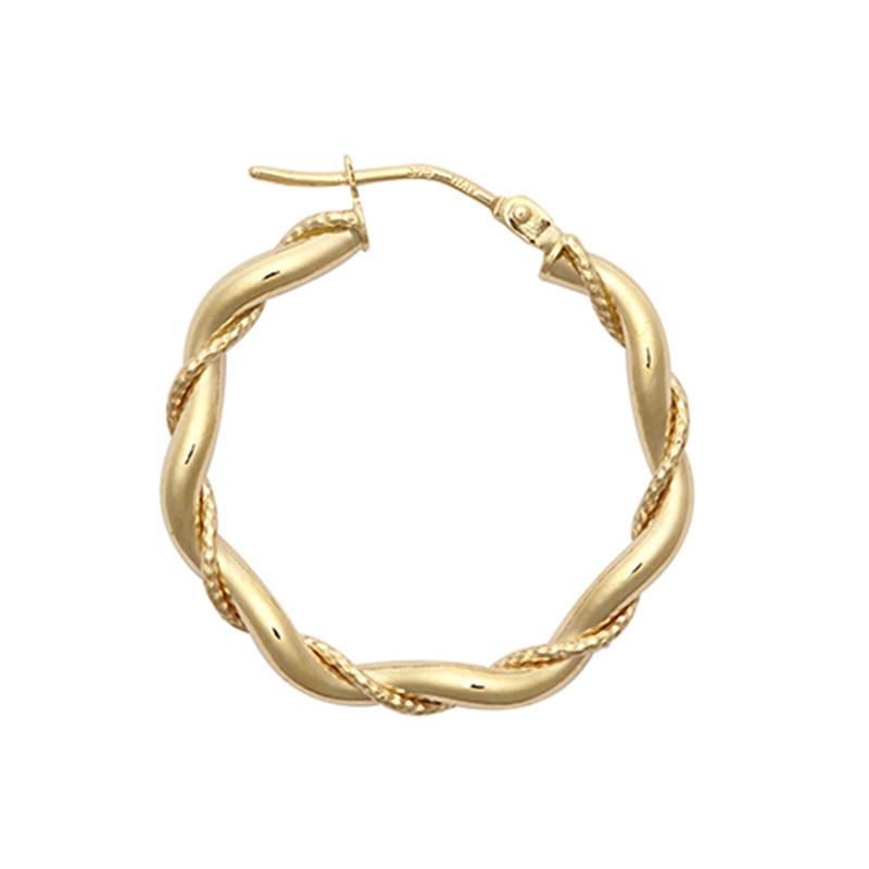 9ct YG 20mm Twist Hoop Earrings