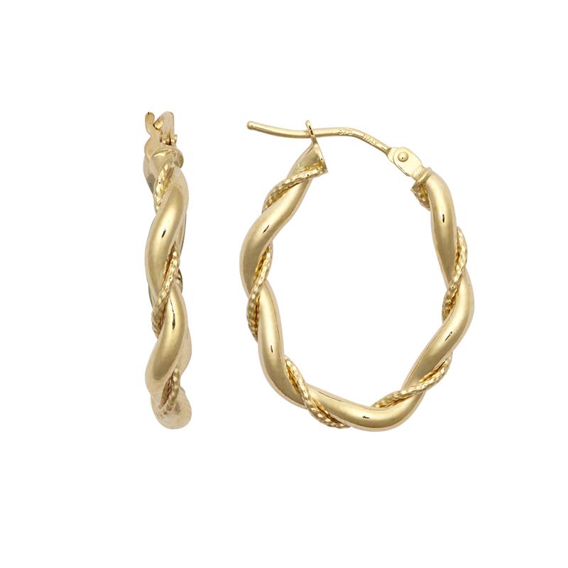9ct YG Twist Oval Hoop Earrings
