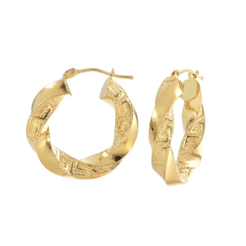 9ct YG 15mm Greek Key Twist Hoop Earrings