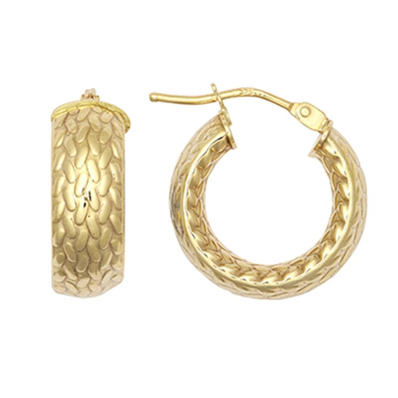 9ct YG 10mm Barked Hoop Earrings
