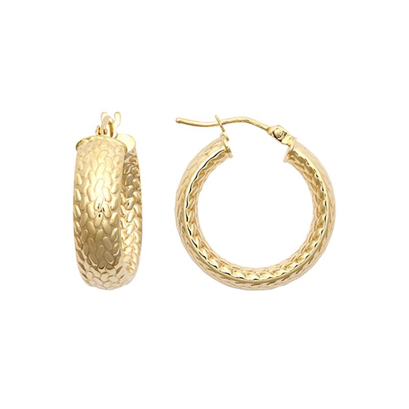 9ct YG 15mm Barked Hoop Earrings