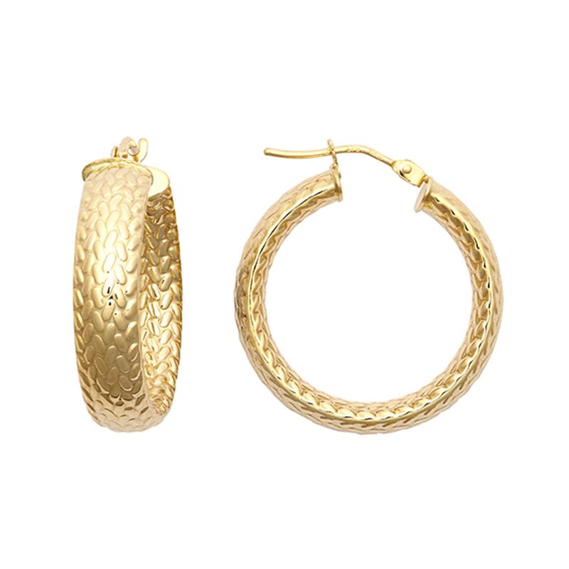 9ct YG 20mm Barked Hoop Earrings