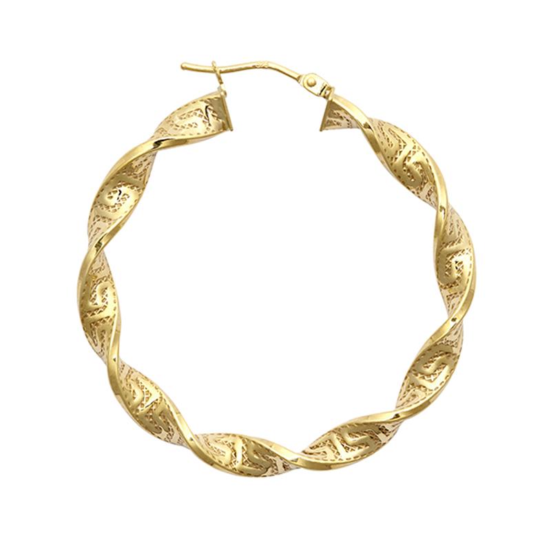 9ct YG 30mm Greek Key Twist Hoop Earrings