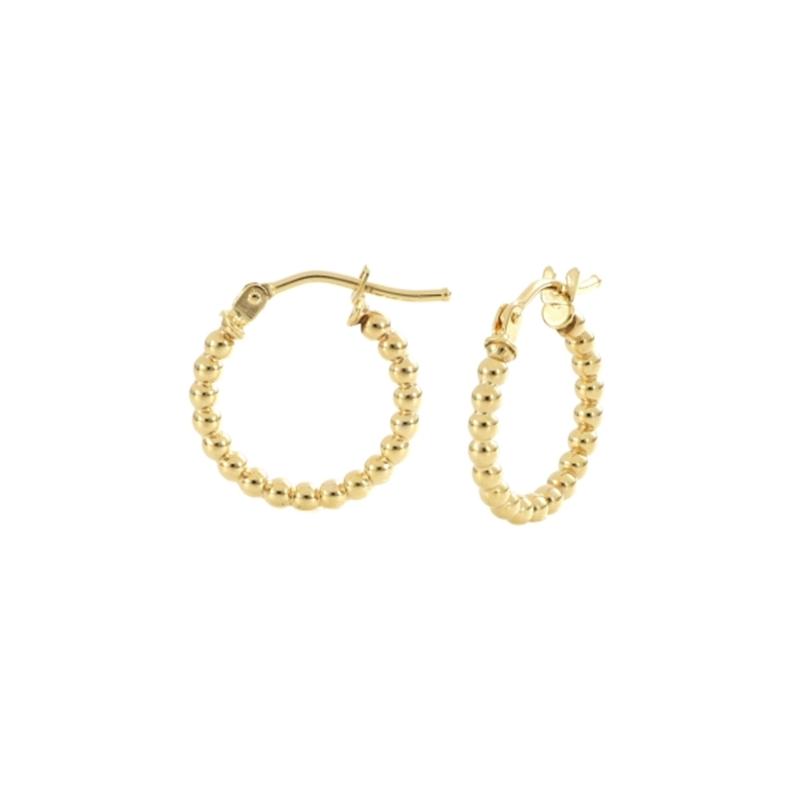 9ct Yellow Gold 10mm Bead Hoop Earrings