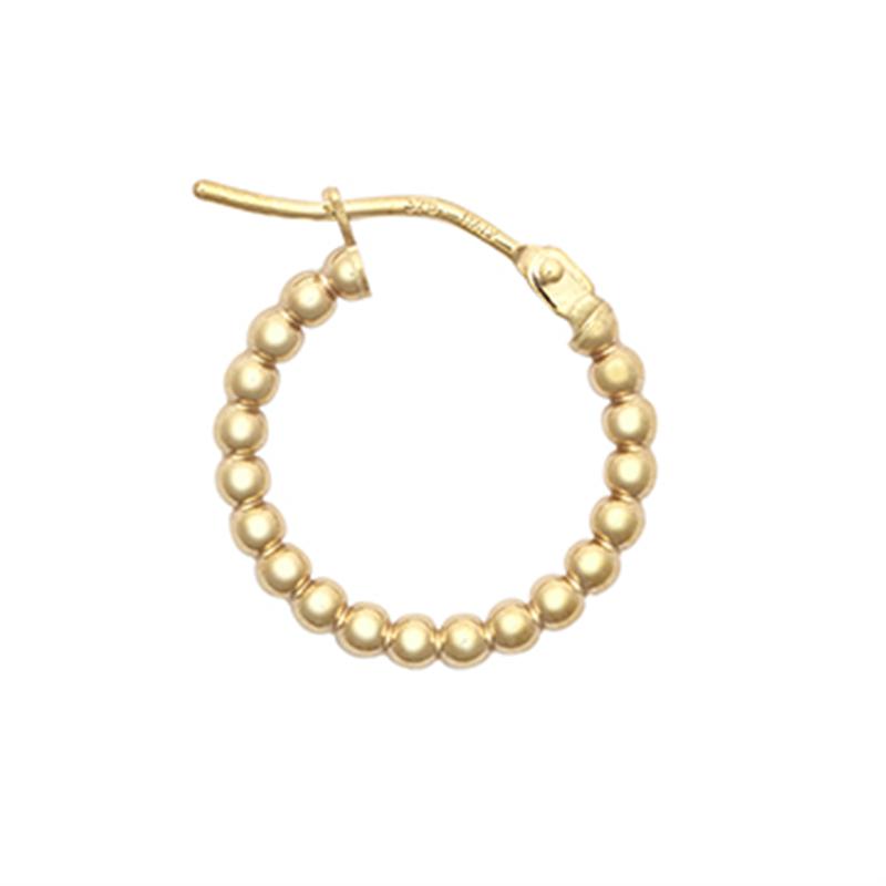 9ct YG 10mm Bead Hoop Earrings