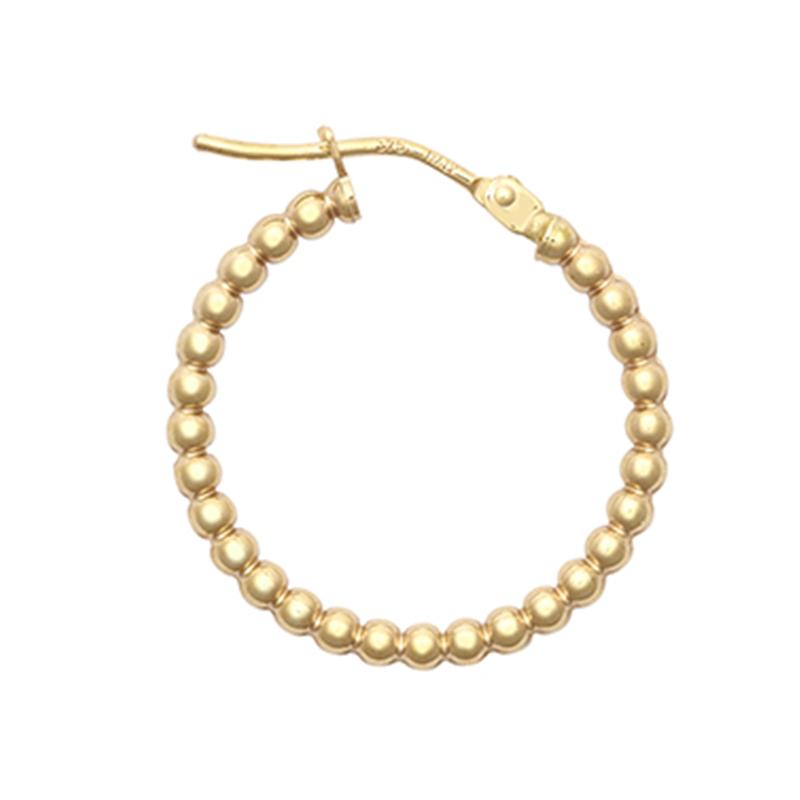 9ct YG 15mm Bead Hoop Earrings
