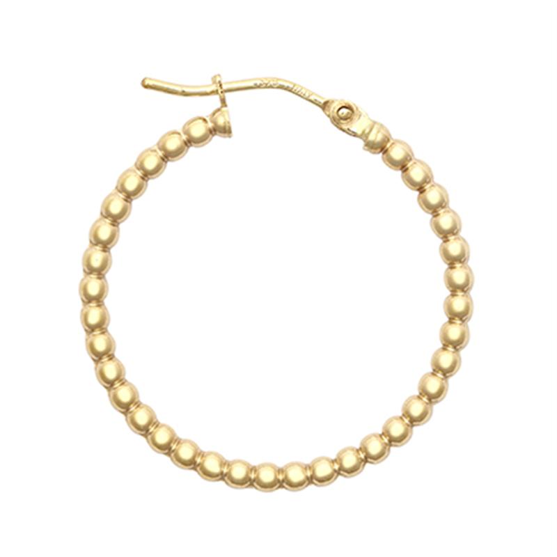 9ct YG 20mm Bead Hoop Earrings