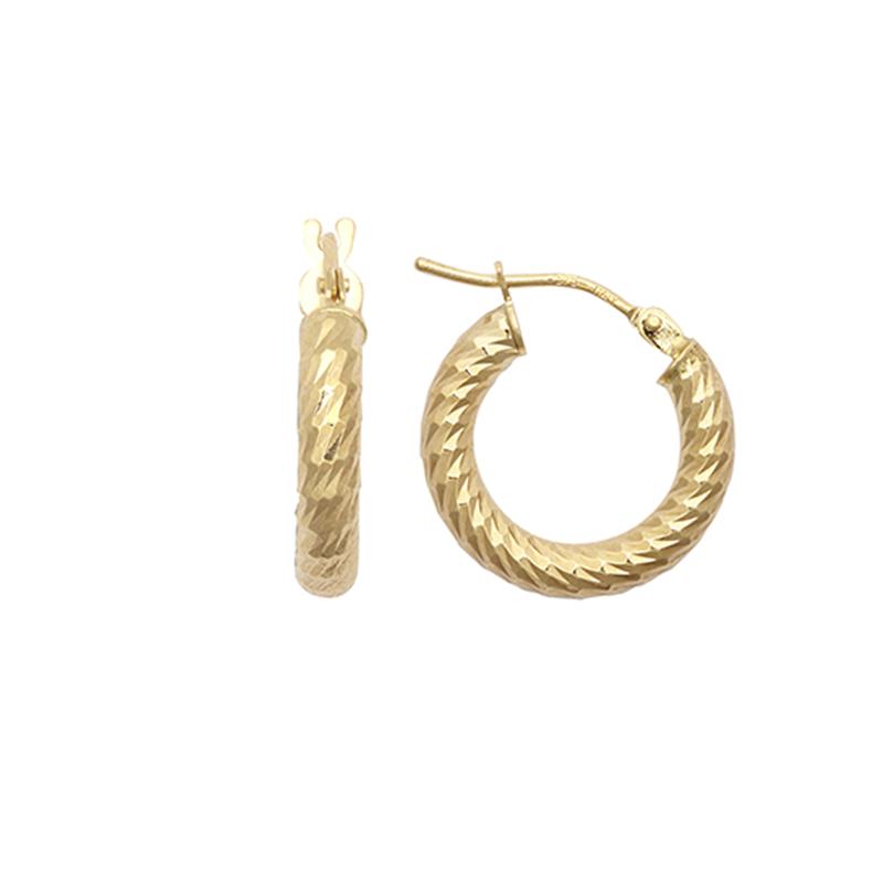 9ct YG 10mm Dia Cut Hoop Earrings