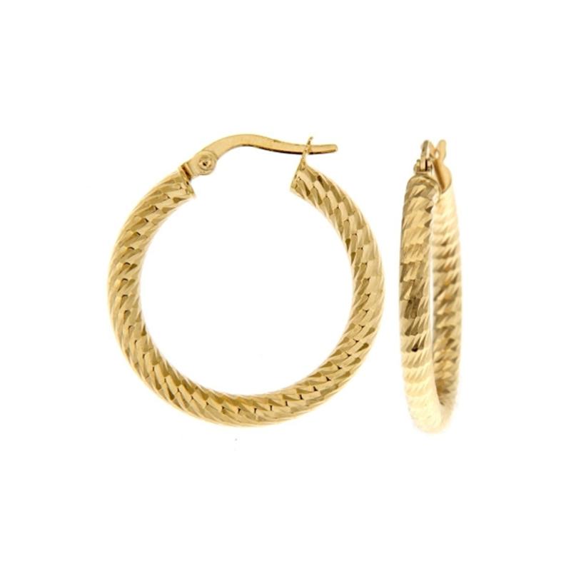 9ct Yellow Gold 15mm Dia Cut Hoop Earrings