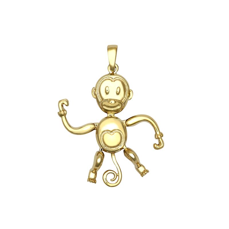 9ct YG Monkey Movable Pendant