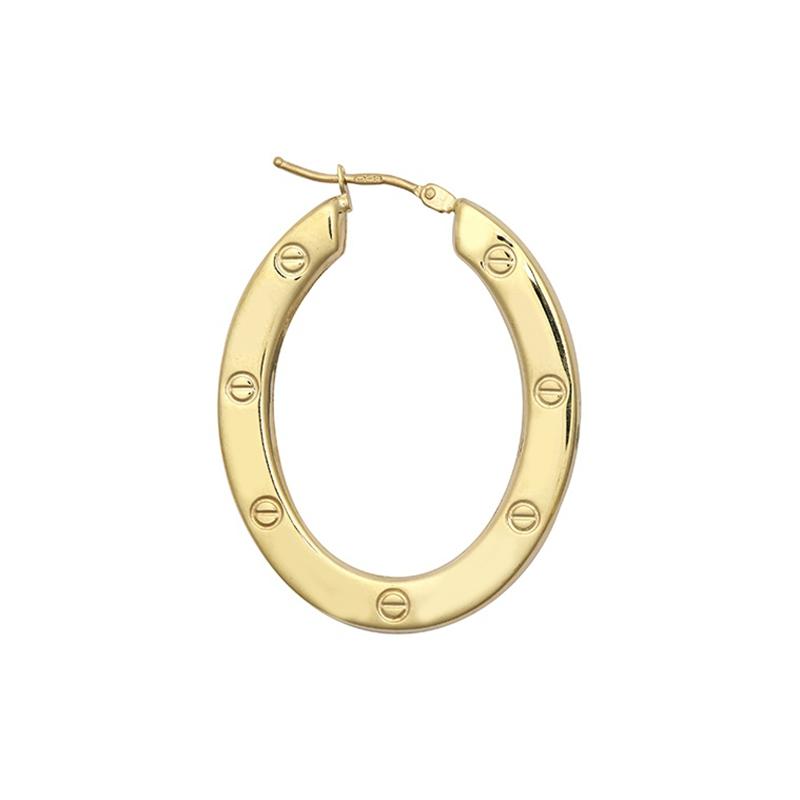 9ct Yellow Gold Oval Screw Earrings