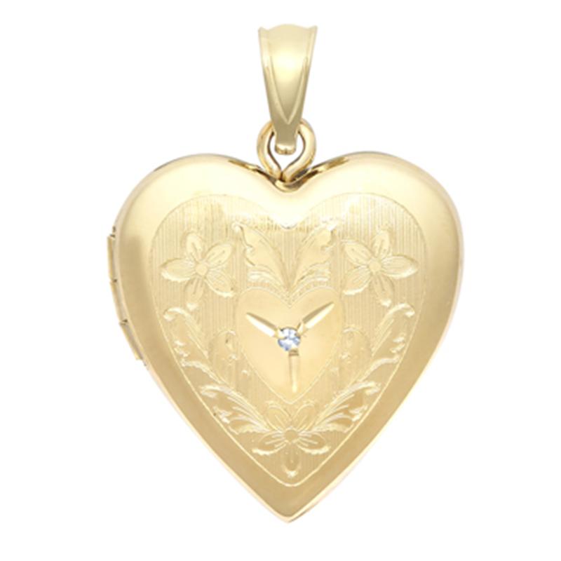 9ct 20mm Heart YG Patterned Diamond Locket