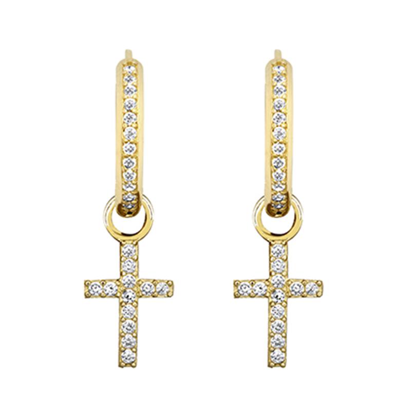 9ct YG  Cz Cross & Hoop Earrings