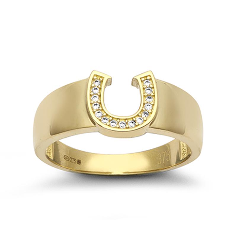 9ct YG Cz Horseshoe Ring