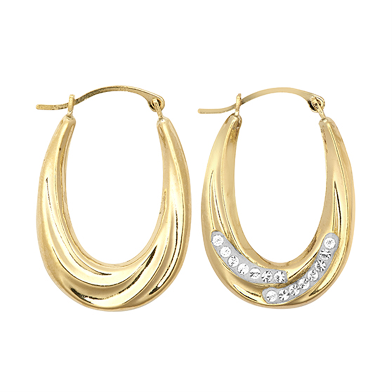 9ct YG Crystal Fancy Creole Earrings