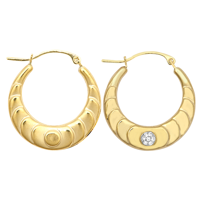 9ct YG Crystal Patterned Creole Earrings