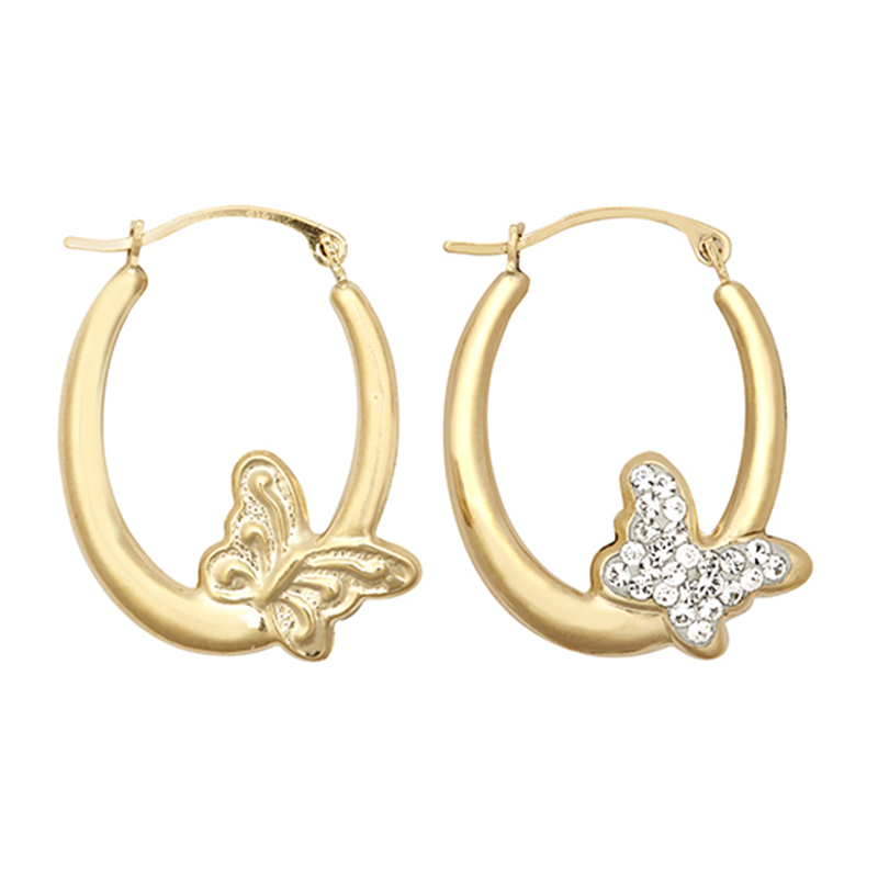 9ct YG Crystal Butterfly Creole Earrings