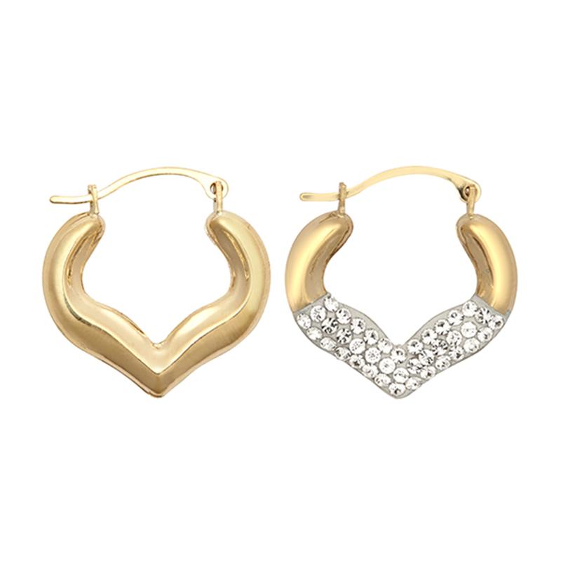 9ct YG Crystal Medium Heart Earrings