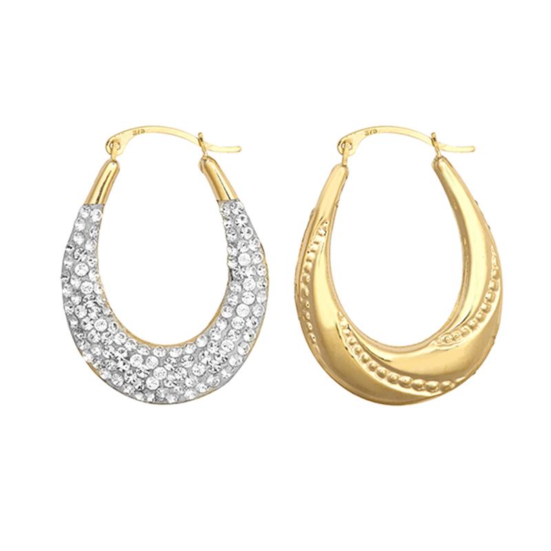 9ct YG Crystal Creole Earrings