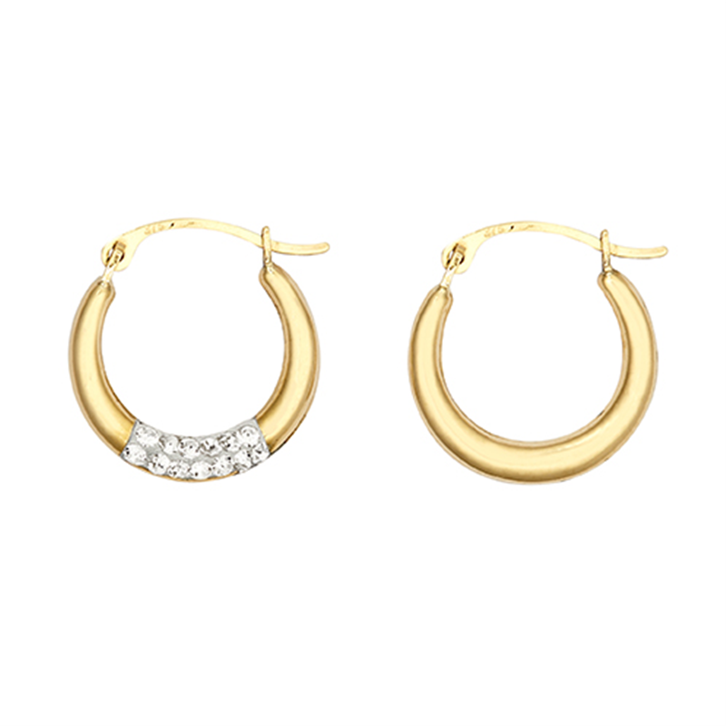 9ct YG 15mm Crystal Creole Earrings