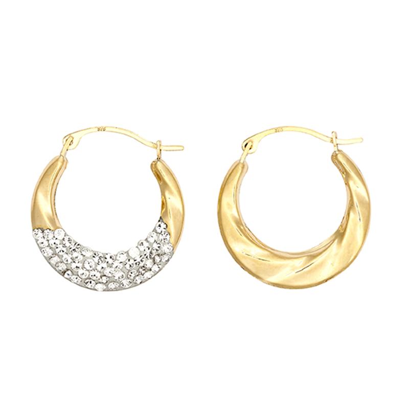 9ct Yellow Gold Crystal Fancy Creole Earrings