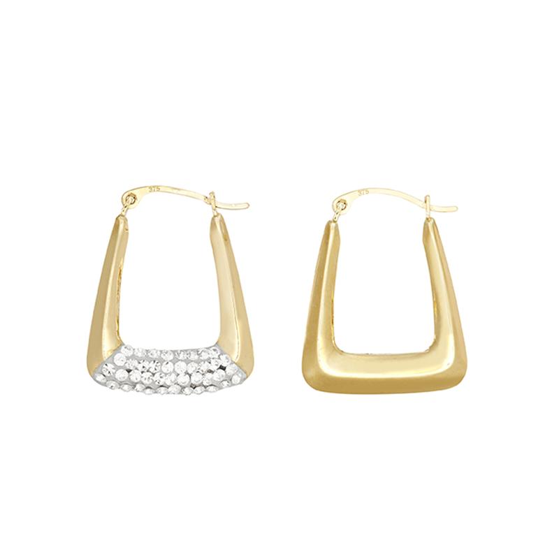 9ct Yellow Gold Crystal Handbag Creole Earrings