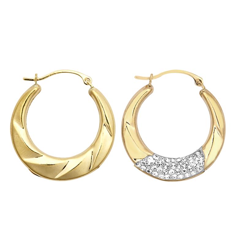 9ct YG 22mm Crystal Fancy Creole Earrings