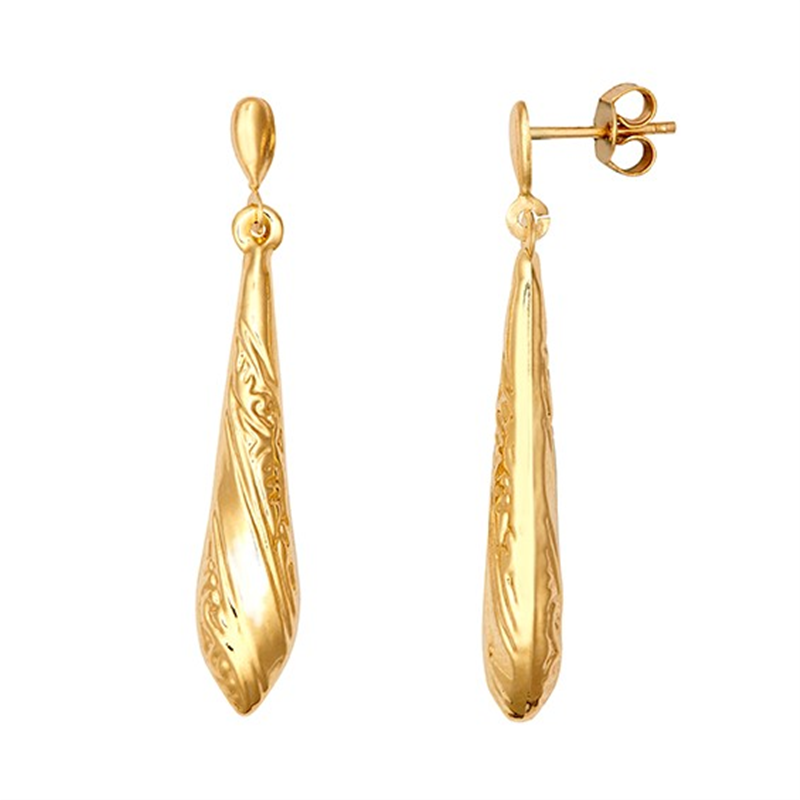 9ct Yellow Gold 25mm Patterned Drop Earrings