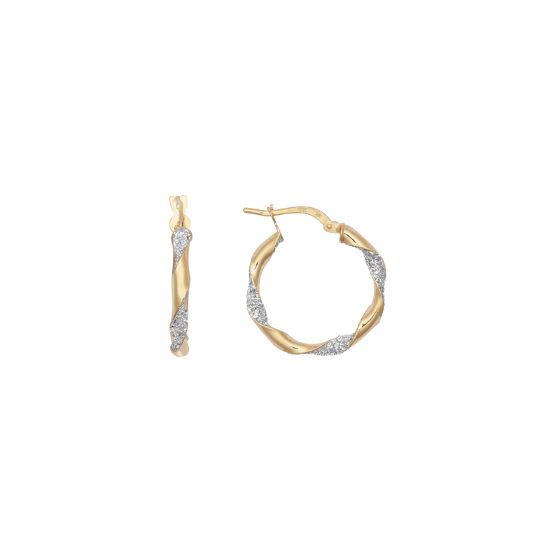 9ct Yellow Gold 15mm Glitter Twist Hoop Earrings