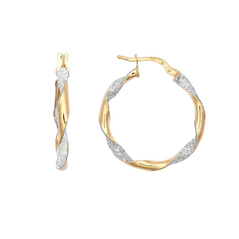 9ct Yellow Gold 20mm Glitter Twist Hoop Earrings