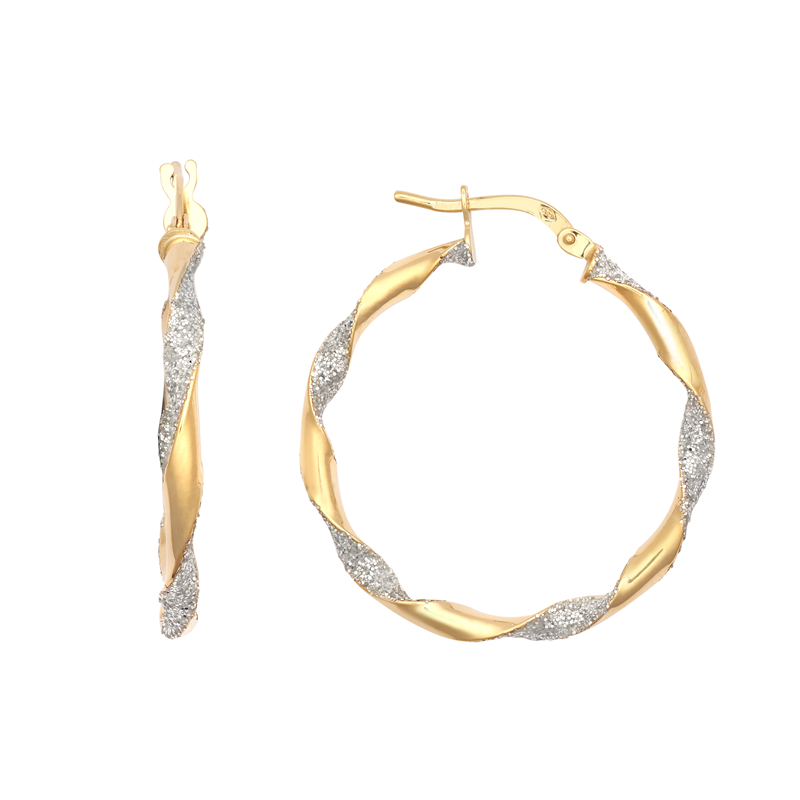 9ct Yellow Gold 25mm Glitter Twist Hoop Earrings
