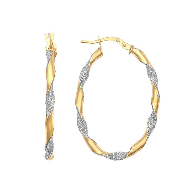 9ct Yellow Gold 30mm Oval Glitter Twist Hoop Earrings