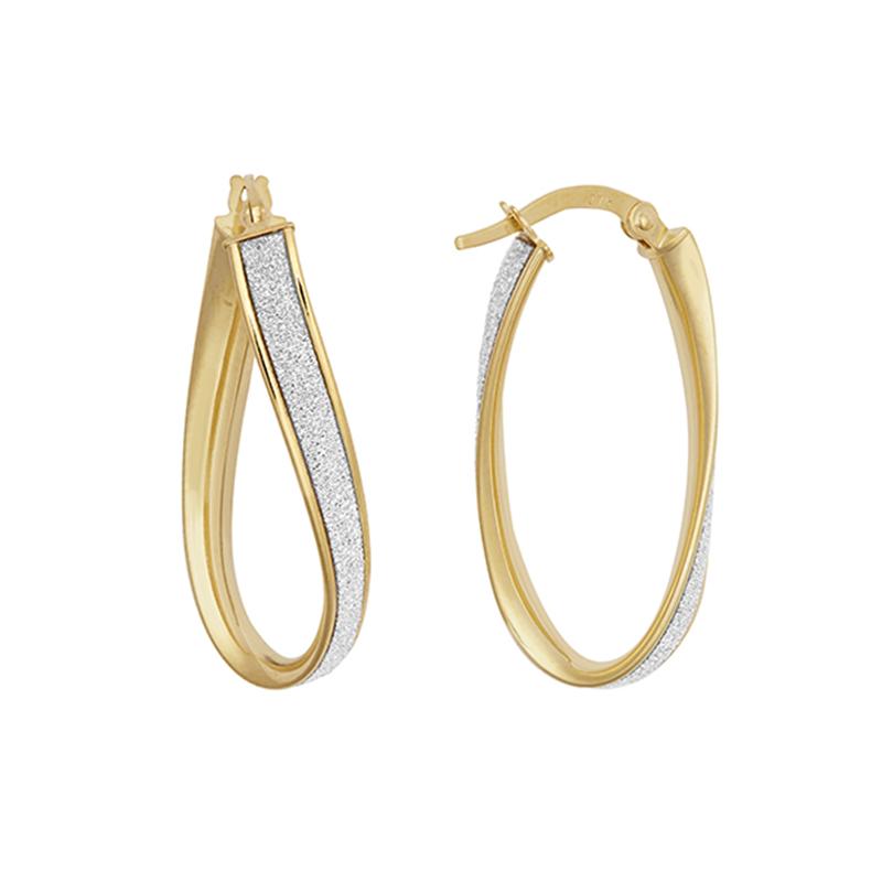 9ct Yellow Gold Glitter Fancy Hoop Earrings