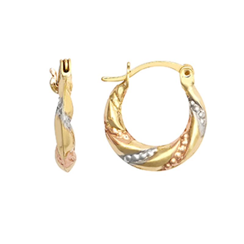 9ct Gold Three Colour Creole Earrings