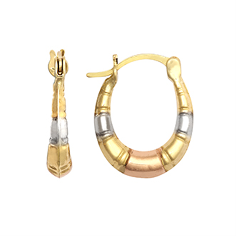 9ct Gold Three Colour Bamboo Creole Earrings