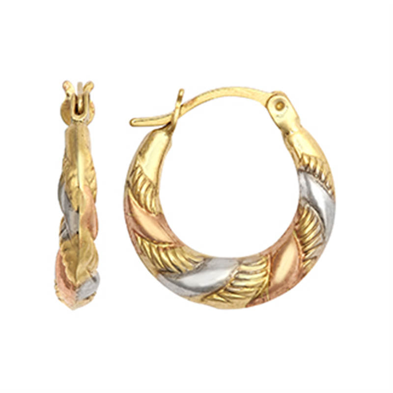 9ct Gold Three Colour Fancy Creole Earrings