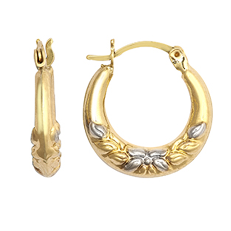 9ct Gold Two Colour Fancy Creole Earrings