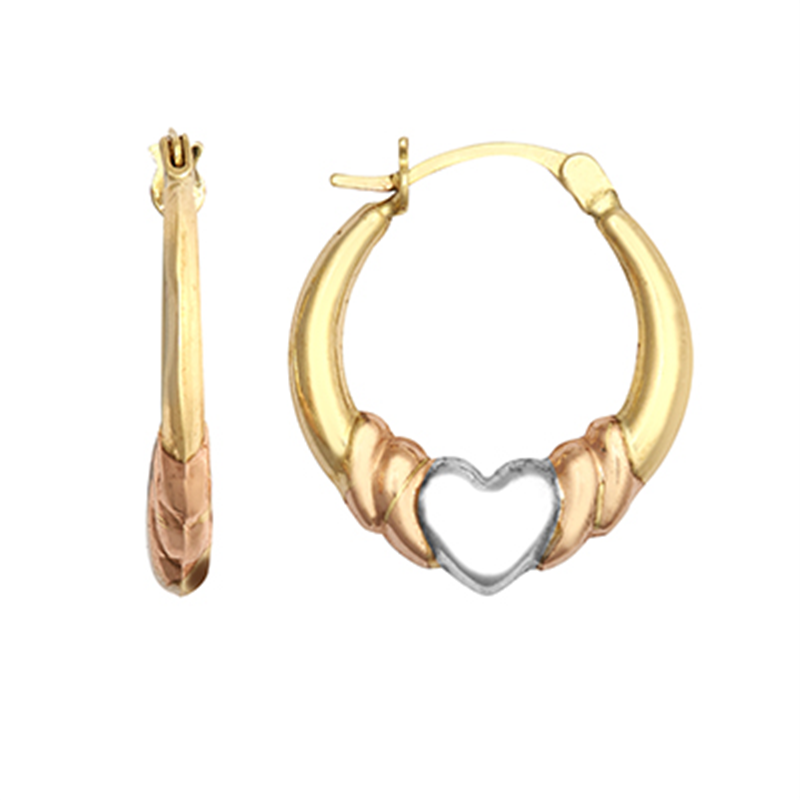 9ct Gold Three Colour Heart Creole Earrings