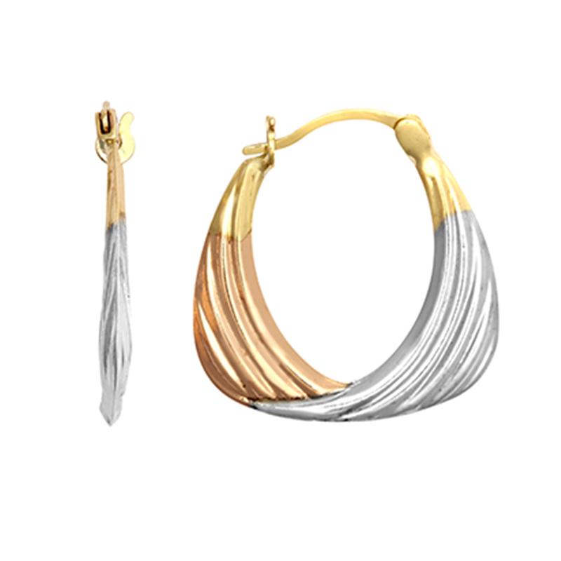 9ct Gold Three Colour Handbag Creole Earrings